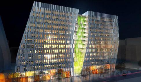 Lyon Part-Dieu : immeuble tertiaire Sky 56 (perspective de nuit) © Icade, Cirmad - Chaix et Morel / Afaa - 2012